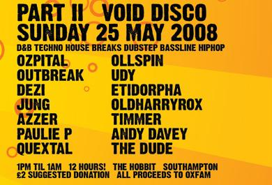 Void Party flyer info for 25th May