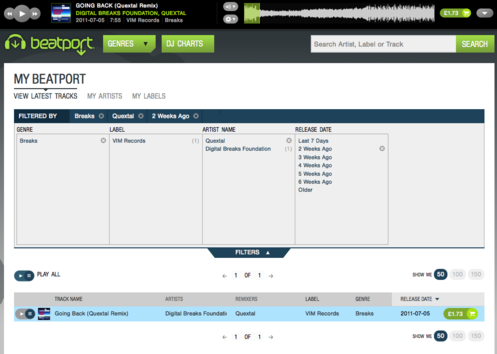 Screenshot of new Beatport site in its default colours